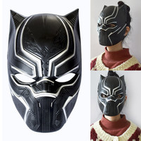 maskeli süslemeler toptan satış-Siyah Panter Maskeleri Film Cosplay Dört Cosplay erkek Cadılar Bayramı Noel Dekorasyon Için Lateks Parti Maskesi Masquerade WX9-639