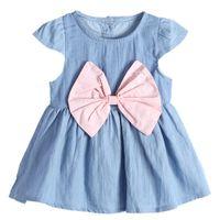 Wholesale denim dress bowknot resale online - Baby Kids Toddler Girls Short Sleeve Denim Dress Large Bowknot Casual Dress