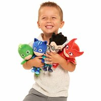 Wholesale cat cartoon movies - 4Styles PJ Masking Cartoon Hero Cat Boy Gekko Owlette Movie Plush Dolls Stuffed Toys 20-25cm Best Gift For Children LC848