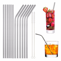 Wholesale cleaning accessories home - Reusable Stainless Steel Metal Drinking Straw Bent and Straight Type and Cleaner Brush For Home Party Bar Accessories