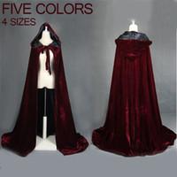 roupões com capuz preto venda por atacado-Vinho tinto de veludo preto com capuz capa de casamento capa de wicca Halloween robe casaco estoque YYO