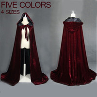 abrigos de vino tinto al por mayor-Vino rojo terciopelo negro capa con capucha capa de boda Halloween wicca bata abrigo Stock YYO