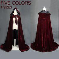 rotweinmäntel großhandel-Weinrot schwarz samt kapuzenmantel hochzeitskap halloween wicca robe mantel lager yyo