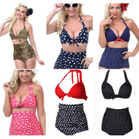 Wholesale leopard women s bikini swimwear - 6 Colors Women High Waist Polka Dot Plus Size Bikini Sexy Leopard Print Swimwear Summer Beachwear Set Bra Swimsuit Bathing Suits AAA359
