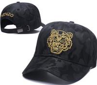 sombreros coreanos moda ala plana al por mayor-Nuevo Diseño Hombres Gorras de Béisbol 100% algodón Tiger Head Hats oro hueso bordado Hombres Mujeres casquette gorras golf Deportes polo Cap envío gratis