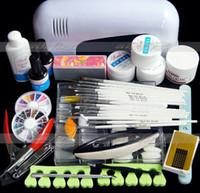 Wholesale 9w uv lamp set - Wholesale-Pro. Nail Art 3 colors UV Gel Tool Kits 9W White lamp(220V) Brush Remover nail glue tips acrylic set Free Shipping
