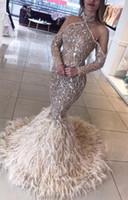 art und weise q plus großhandel-Abendkleid Kardashian Langes Kleid Langarm Kristallperlen Feder Meerjungfrau Yousef aljasmi Kylie Jenner Zuhair murad q