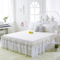 Wholesale king size white bedspread - New 100 %Cotton Bed Skirts White Embroidey Lace Bedspread Bed Sheet For Wedding Twin Full Queen King Size Princess Bed Cover