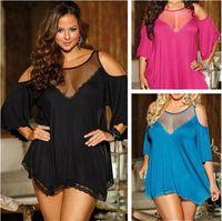 Wholesale fashion pajamas for women - Hot sale 3 colors Plus Size XXXXL Sexy sleepwear Fashion household Women Lingerie Net yarn Pajamas For Women T3I0334