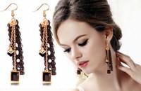 boucles d'oreilles en dentelle noire achat en gros de-Hot Style coréen boucles d'oreilles en dentelle noire fille cristal ruban personnalité mode gland boucles d'oreilles mode classique élégant