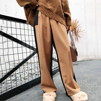 Wholesale hit clothing online - Casual Trousers For Women High Waist Patchwork Hit Colors Wide Leg Pants Female Fashion Clothes