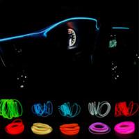 12v el wire car al por mayor-JURUS Universal DIY Decoración 12 V Auto Interior Del Coche LED Luz de Neón Tubo de Cuerda de Alambre Línea 10 Colores 1 Metro luz de estilo de coche