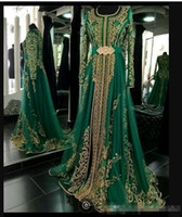 Wholesale Emerald Green Jacket - Long Sleeved Emerald Green Muslim Formal Evening Dress Abaya Designs Dubai Turkish Prom Evening Dresses Gowns Moroccan Kaftan