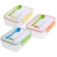bento lonchera compartimientos compartimientos contenedores al por mayor-Caja de almuerzo 1250ML para niños Caja de almuerzo transparente de tres compartimentos Bento Lunch para caja de almacenamiento de alimentos Snack Container