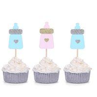 décorations de petit gâteau rose achat en gros de-20pcs bleu / rose bouteille de lait Cupcake Toppers Baby Shower Party décors bébé bouteille décoration de gâteau