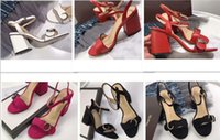 Wholesale round heel sandal - Designer 2018 New Luxury high Heels Leather suede mid-heel Brand sandal Women woman summer sandals Size 35-40 Girls summer shoes