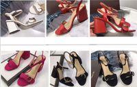sandalias de marca para niñas al por mayor-Diseñador 2018 Nuevo Lujo tacones altos de cuero de tacón medio sandalias de marca Sandalias de verano de mujer mujer Tamaño 35-40 zapatos de verano de las niñas