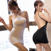 5d73033baac8 sexy transparente mini nacht kleid großhandel-Neue Sexy Frauen Ice Silk  Transparent Streifen Halter Backless