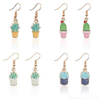 Wholesale enamelled pots for sale - Group buy Lovely Potted Plants Succulent Plant Cactus Earrings For Women Cartoon Tiny Gold Enamel Plant Drop Earrings Jewelry
