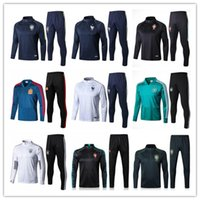 Wholesale Men S Training Pants - 2018 world cup france germany spain Argentina soccer tracksuit chandal Survetement Portugal Colombia football training suit skinny pants