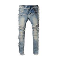 новые мотоциклы для оптовых-Balmain New Fashion джинсы мужские простые летние мотоциклетные байкеры легкие джинсы повседневная твердые классические прямые женские мужские джинсы