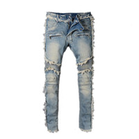 Wholesale denim boys - Fashion Men's BALMAIN Rock Renaissance Jeans Europe and the United States street style boys hole embroidered jeans pants men jeans