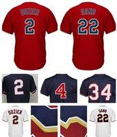 Wholesale Kirby Puckett Jersey - Men's #4 Paul Molitor 2 Brian Dozier 34 Kirby Puckett 22 Miguel Sano Jersey 100% stitched Embroidery Baseball Jerseys
