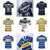 Wholesale Rugby Cowboys - Cheap Mens 2018 North Queensland Cowboys Parramatta Eels Home Away Blue White Yellow NRL National Super Rugby League Printed Pattern Jerseys