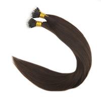Wholesale nano ring 1g hair extensions - Nano Ring Human Hair Extensions Color 2 Dark Brown 1g per Strand 50g 100g Remy Human Hair Extensions
