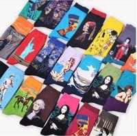 Wholesale winter oil paintings online - Mona Lisa Men s Socks Van Gogh Retro Abstract Oil Painting Middle Tube Socks design KKA5825