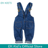 Wholesale cool korean boy - 2017 New arrival fashion Unisex kids overalls jeans korean cool toddler girl and boy denim soveralls Wholesale