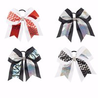 Wholesale 12pcs Inch Fashion Glitter Hair Bows Grosgrain Ribbon Printed Chevron Cheer Bow With Rhinestones Headband Ties For Girls