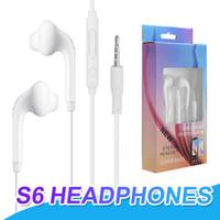 iphone için kulaklık mikrofonu ses kontrolü toptan satış-Samsung S6 S7 için Kablolu Kulaklık Kulakiçi 3.5mm Kulak Kulaklık Mic Ses Kontrolü Ile Kulaklıklar Için Perakende Paketi Ile iPhone 6 6 S
