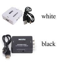 xbox hd mini al por mayor-HDMI2AV 1080P Adaptador de video HD mini HDMI a AV Converter CVBS + L / R HDMI a RCA Para Xbox 360 PS3 PC360 Con embalaje al por menor de calidad superior