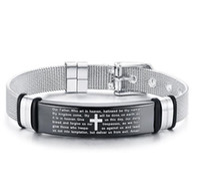 Wholesale id bracelet for sale - Group buy L Stainless Steel Fashion Belt Chain Cross scriptures ID Bracelet Men Best Gifts mm adjustable adjustable