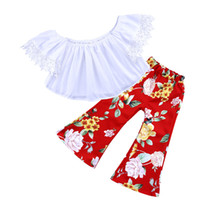 Wholesale Tops For Baby Girls - Kids Clothes For Girls 2018 Fashion Baby Girls Clothes White Lace Off Shoulder Tops Floral Printing Bell-bottoms Long Pants Outfits Children