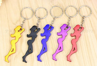 Wholesale kitchen ornament - New Kitchen, Dining & Bar Multi Function Sexy Girl Shaped 2 in 1 Aluminum Alloy Beer Bottle Opener Key Chain Ornaments
