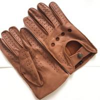 kışlık deri sürüş eldiven erkek toptan satış-Ücretsiz kargo erkek Güz ve Kış Hakiki Deri Eldiven Yeni Moda Marka Kahverengi Sıcak Sürüş Çizgisiz Eldiven Keçi Eldivenler