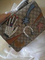 Wholesale Hand Bags Designs - Hot ladies shoulder bags woman fashion hand bone design letter chain crossbody handbag real leather flap bag