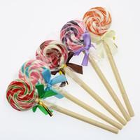 dulces bolígrafos regalos al por mayor-3 unids Lindo Creativo Lollipop Bola Pluma Estudiante Simulación Regalo de Dulces Suministros de Oficina de la Escuela de Los Niños de Papelería Estudiantil Pluma