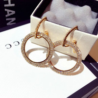 Wholesale hoops for girls - Diamond Hoop Earrings For Lady Fashion Luxury Stud American Style Personality Gold And Silver Huggie Stud For Girl