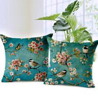 mavi kuş yastık örtüsü toptan satış-Çiçek Kuşlar Yastık Kapakları Şeftali Çiçek Yağlıboya Mavi Renk Yastık Keten Atmak Yastıklar Kılıfları Yatak Odası Dekorasyon Kapakları