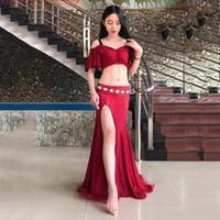 ingrosso set di danza pancia rossa-Vestito di danza del ventre sexy 3pcs set (top + gonna + mutande) costumi di pratica del ballerino india rosso, vestiti bianchi spedizione gratuita