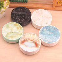 Wholesale cute travel box for sale - Group buy New Marble Contact Lens Box with Mirror Round Frame Companion Contact Lenses Case Container Cute Lovely Travel Kit Box