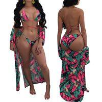uzun kollu kadın mayo toptan satış-Femme Bikini Baskı Uzun Kollu Gevşek Ceket Pelerin Kadın Bandaj Mayo Lady Mayo Yapışık Iki Adet Takım Elbise 5 5 sn V