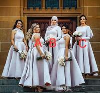 leichte lila kleider für frauen großhandel-Hellpurpur Puffy Big Bow Brautjungfer Kleider Muslimischen Arabisch Frauen Formale Kleider plus Größe Hochzeitsfest Kleid