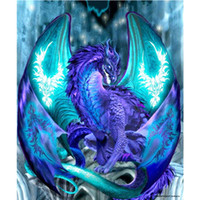 Wholesale tools for painting - Creative DIY d Diamond Painting Blue Pterosaur Design Manual Rhinestone Cross Stitch For Living Room Home Furnishing Decor lx Z