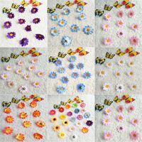 mini girasoles al por mayor-Girasol Artificial Mini Colorido DIY Margaritas de Simulación Hecha A Mano Flores de Seda Decoraciones de La Boda 100 Unidades por Paquete 0 07qr UU