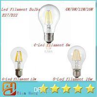4w führte glühbirne großhandel-Super helles E27 führte Faden-Birnen-Licht 360 Winkel A60 geführte Lichter Edison-Lampe 4W / 8W / 12W / 16W 110-240V Garantie 3 Jahr