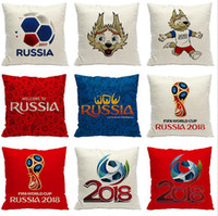 Wholesale Printed Cushions Linen Cotton - 2018 Russia World Cup Pillow Case 45*45cm Football Polyester Linen Pillowcase Home Decor Cushion Cover OOA5002